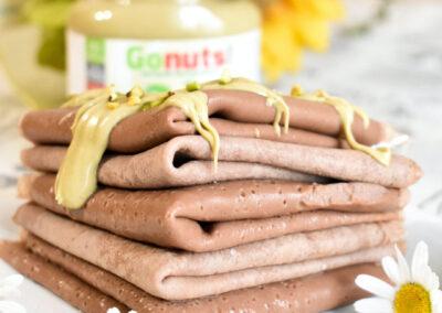Crêpes al cioccolato e pistacchio proteiche con Gonuts! Greendream